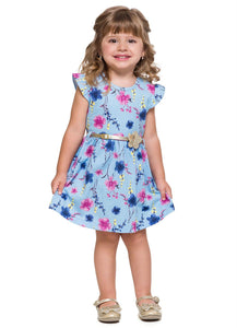 Light Blue Flower Dress - Hopscotch and Kite