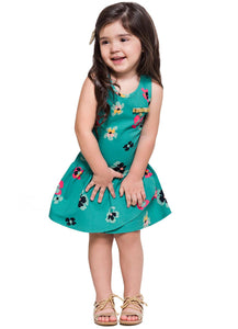 Teal Poppy Dress - Hopscotch and Kite