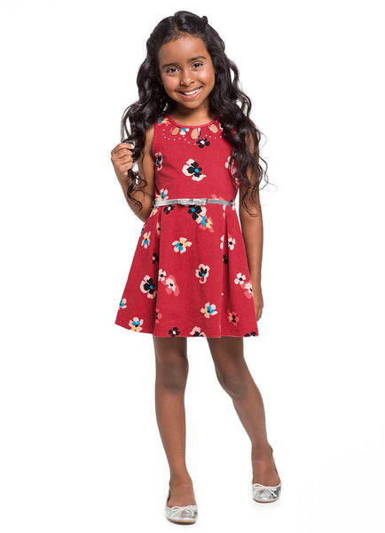 Floral Sleeveless Red Dress - Hopscotch and Kite
