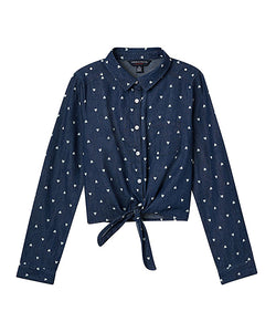 Indigo Heart Tie-Front Button-Up Top