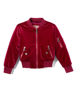 Berry Stretch Velvet Bomber Jacket
