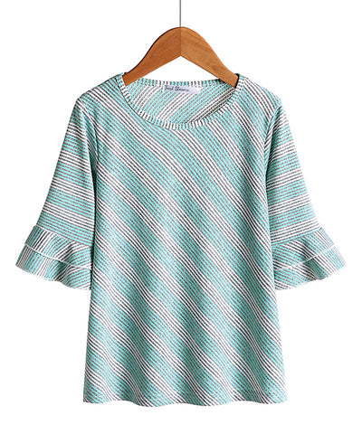 Turquoise Stripe Ruffle-Sleeve Top