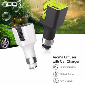 ROCK Aroma Diffuser Car Charger 5V2A Aroma Diffuser Car Phone Charger with 2pcs Aromatherapy sheet Air freshener fast charger