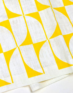 Linen Tea Towel - yellow