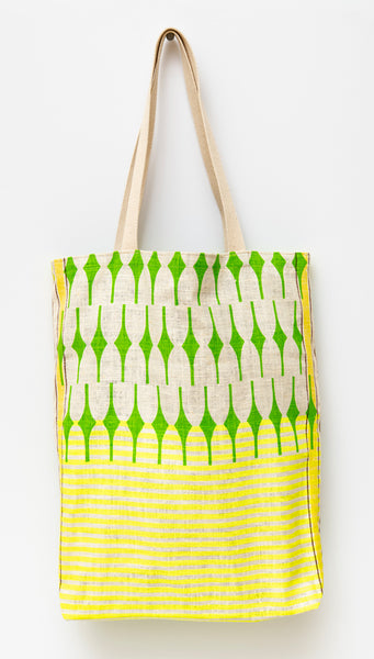 Joy Tote, green & yellow