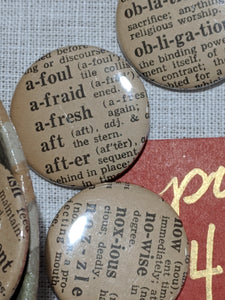 Buttons from Webster's Dictionary
