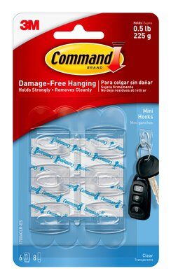 Command™ Clear Mini Hooks (Holds upto 225g)