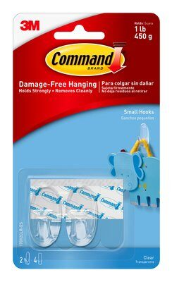 Command™ Clear Small Hooks (Holds upto 450g)