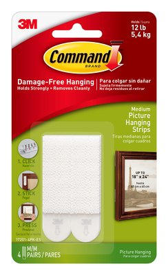 Command™ Medium Picture Hanging Strips (Holds upto 5.4kg)