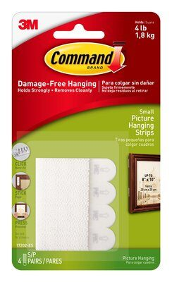 Command™ Small Picture Hanging Strips (Holds upto 1.8kg)