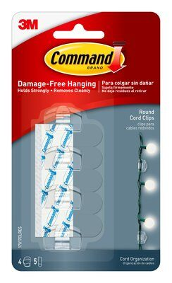 Command™ Round Cord Clips (4 clips, 5 small strips)