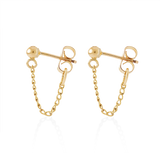 Mini Chain Hoops-Gold-Single-Phyllis + Rosie