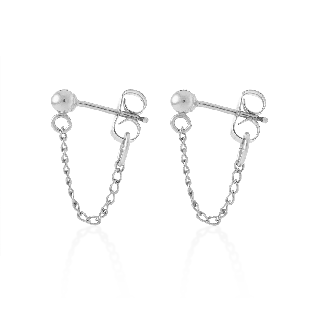 Mini Chain Hoops-Sterling Silver-Pair-Phyllis + Rosie