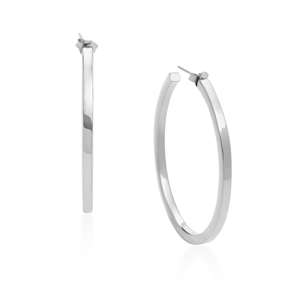 Square Hoops-Single-Sterling Silver-Phyllis + Rosie