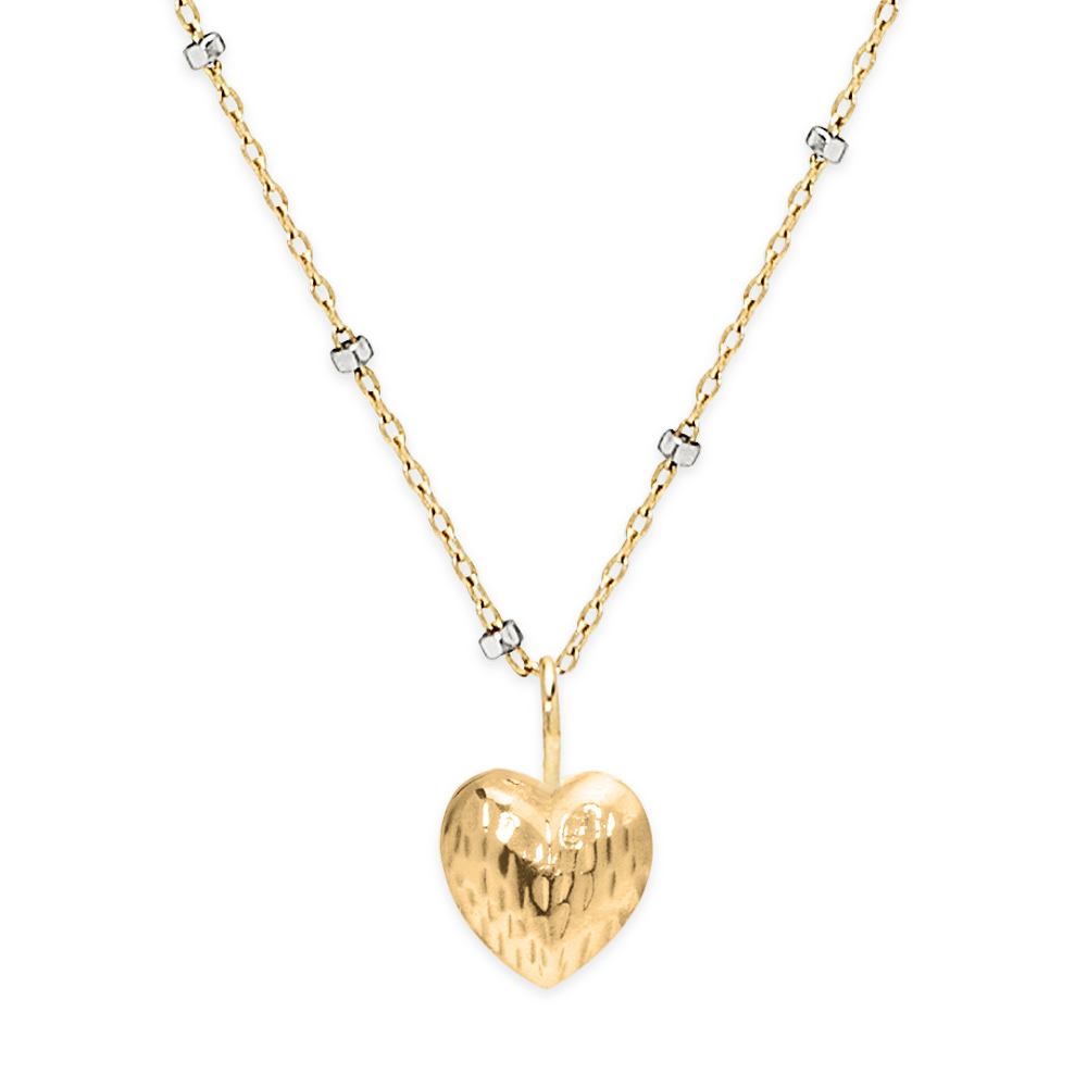Double Face Heart Necklace-Gold-Phyllis + Rosie