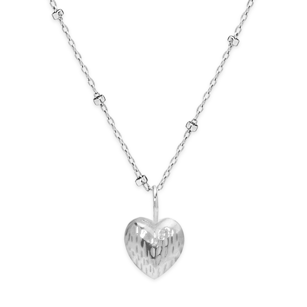Double Face Heart Necklace-Silver-Phyllis + Rosie