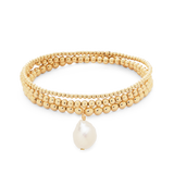 Everyday Stack Bracelets-14K Yellow Gold Filled-Pearl-Phyllis + Rosie
