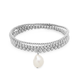 Everyday Stack Bracelets-Sterling Silver-Pearl-Phyllis + Rosie