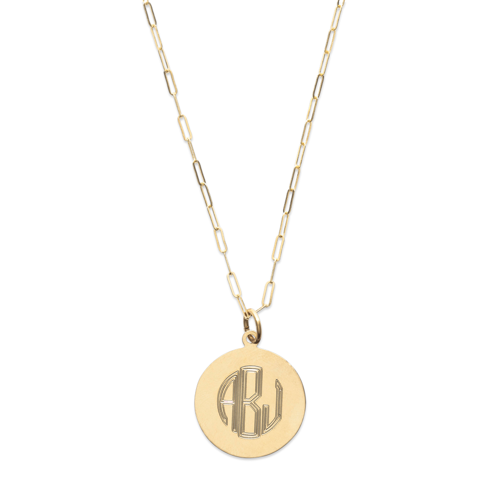 Monogram Circle Necklace-Gold-Phyllis + Rosie