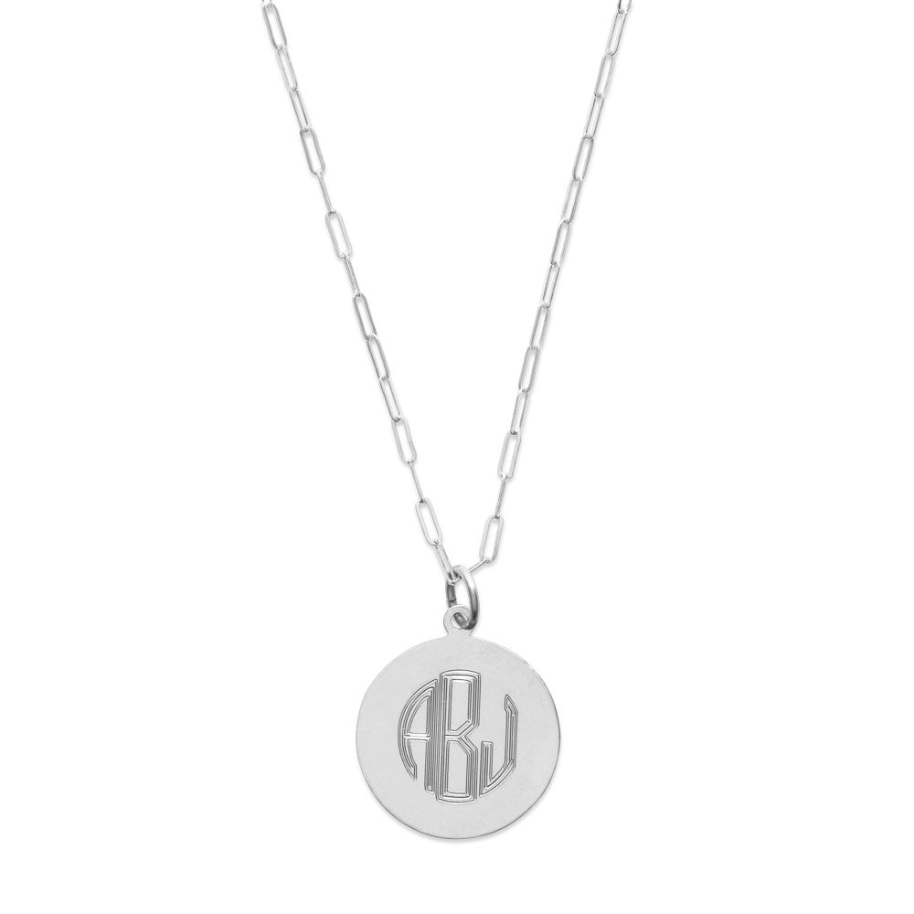 Monogram Circle Necklace-Sterling Silver-Phyllis + Rosie