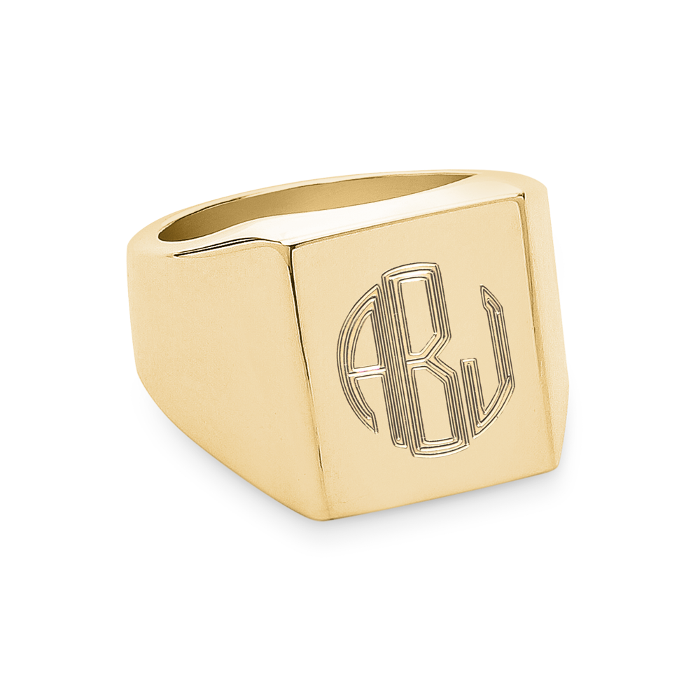 Monogram Square Signet Ring-Gold-Phyllis + Rosie