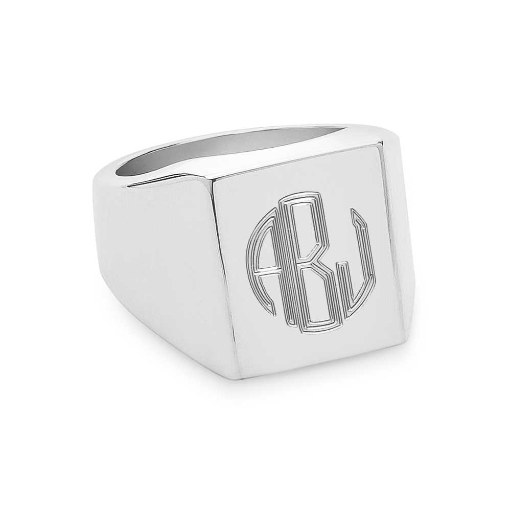 Monogram Square Signet Ring-Sterling Silver-Phyllis + Rosie