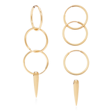 Triple Horn Hoops-14K Gold Filled-Single-Phyllis + Rosie