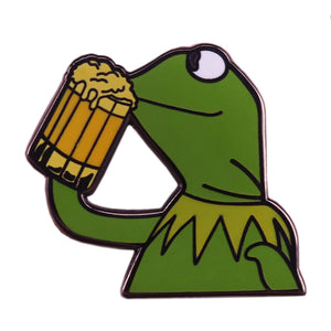 Kermit Drinking Beer Meme Pin - BellePark