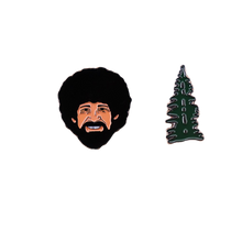 Load image into Gallery viewer, Bob Ross and His Happy Little Tree Pin Set of 2 - BellePark