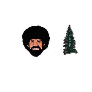Bob Ross and His Happy Little Tree Pin Set of 2 - BellePark