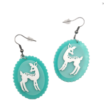 Load image into Gallery viewer, Mint Picture Frame Deer Earrings - BellePark