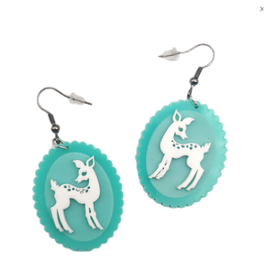Mint Picture Frame Deer Earrings - BellePark