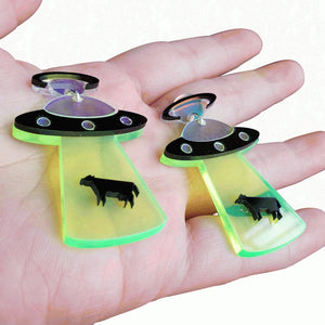 Beam up the Bovine UFO Cow Abduction Earrings - BellePark
