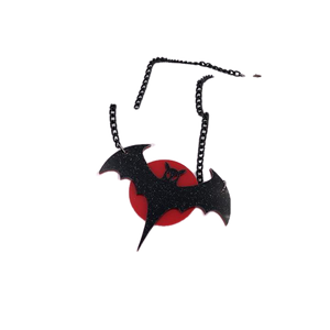 Bat in the Blood Moon Necklace