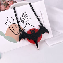 Load image into Gallery viewer, Bat in the Blood Moon Necklace - BellePark