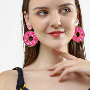 Strawberry Iced Donut Earrings - BellePark