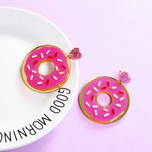 Load image into Gallery viewer, Strawberry Iced Donut Earrings - BellePark