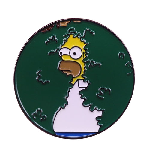 Homer Backing into Bush Meme Enamel Pin - BellePark