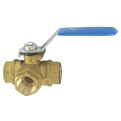 "Industrial Grade 1"" Brass 3 Way Ball Valve - Factory Direct Hose"