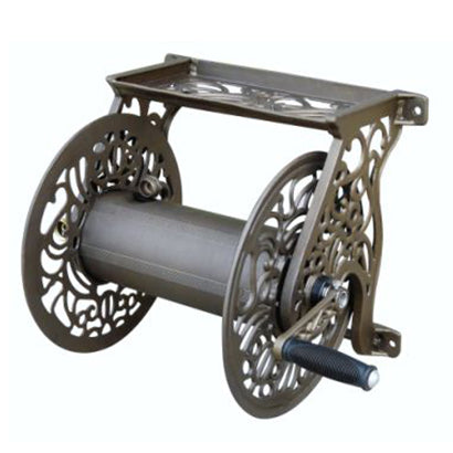 Cast Aluminum Decorative Wall Mount Reel - 5/8 x 125 ft Capacity - Factory Direct Hose