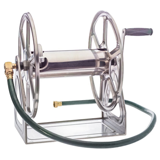 Stainless Steel Wall Mount Garden Hose Reel - 5/8 x 200 ft Capacity - Limited Lifetime Warranty - Factory Direct Hose