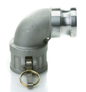 "6"" Aluminum Female Camlock x 6"" Male Camlock adapter - 90 degree"