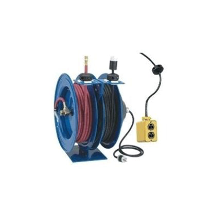 Coxreels Air/Electric Dual Hose Reel - 3/8 x 50 ft x 50 ft 12 ga Cord - Quad Receptacle