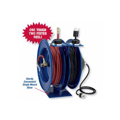 Coxreels Air Hose Reel/Cord Reel Combo - 3/8 x 50 ft with 50 ft of 12 ga Cord - Single Receptacle