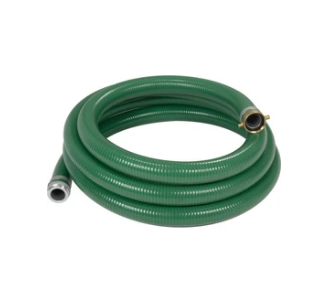 "Green PVC 1"" Suction Hose Assembly with M/F Pipe Fittings - 50 Ft (NPSH)"