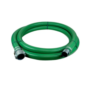 "Green PVC 1"" Suction Hose Assembly with Male Pipe & Female Camlock Fittings - 50 Ft"
