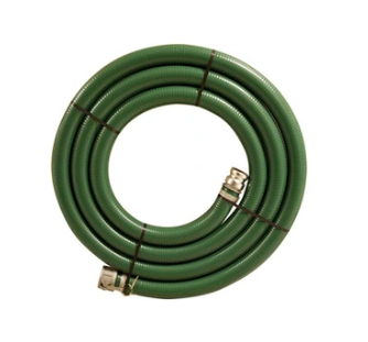 "Green PVC 1.5"" Suction Hose Assembly with M/F Cam Lock Fittings - 25 Ft"