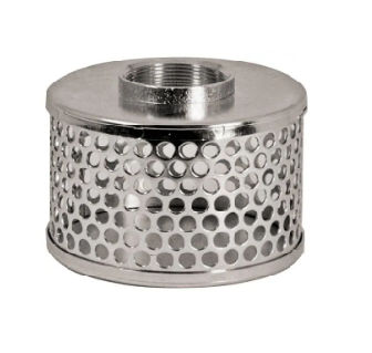 4 Inch Suction Hose Strainer - Round Hole Zinc Plated Steel