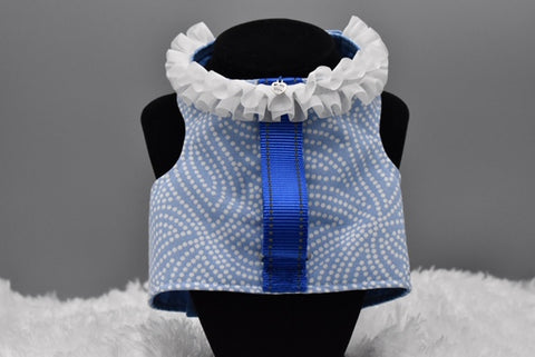 Blue White Dots Ruffles