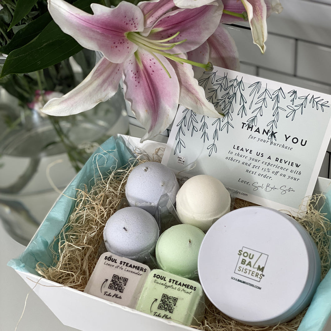 Relax at Home Spa Gift Set - Bath Bombs and Shower Steamers